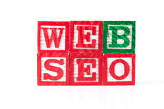 Web SEO Search Engine Optimization - Alphabet Baby Blocks on whi Royalty Free Stock Image