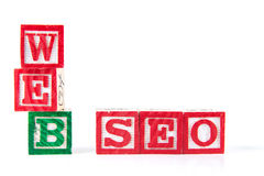 Web SEO Search Engine Optimization - bloques del bebé del alfabeto en whi Fotografía de archivo libre de regalías