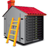 Web server. Rack designed as a house with a roof Stock Photo