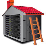 Web server rack. Designed as a house with a roof stock illustration