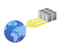 Web servers connecting the world royalty free illustration