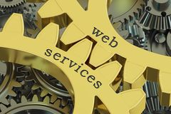 Web services concept on the gearwheels, 3D rendering Stock Images