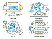 Web services flat line illustration. Flat line illustration set of internet business services, website building process, mobile phone apps development, web Royalty Free Stock Photos