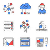 Web services line icons set Royalty Free Stock Photo