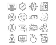 Web. Set of Copyrighter, Human resources and Web tutorials icons. Money transfer, Manual doc and Payment signs. Music making, Atm service and Money currency royalty free illustration