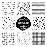 Set of eight hand draw pattern black white royalty free illustration