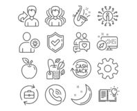 Web. Set of Service, Group and Dating chat icons. User idea, Cashback and Jazz signs. Mint bag, Human resources and Product knowledge symbols. Cogwheel gear vector illustration