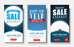 Web set of vertical banners for Christmas sales. Royalty Free Stock Images