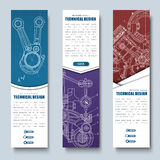 Web set of vertical banners of red, blue and purple. Templates with technical drawings. different shapes, with the buttons. Vector illustration Stock Illustration