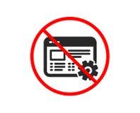 Web settings icon. Engineering cogwheel tool sign. Vector. No or Stop. Web settings icon. Engineering cogwheel tool sign. Cog gear symbol. Prohibited ban stop royalty free illustration