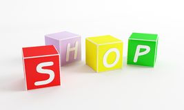 Web shop cube. Alphabet cube for web b2b menu Royalty Free Stock Photo