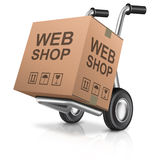 Web shop. Icon online internet shopping concept cardboard box with text on a hand truck e-commerce royalty free illustration