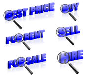 Web shop icon online shopping buy sell rent. Best price for rent sale sell buy hire icon marketing button isolated on white magnify part of 3D word blue text royalty free illustration