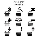 Web shopping icons. Black shopping bags for online shop with different signs Royalty Free Stock Photos