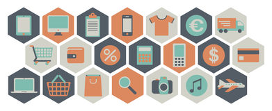Web shopping icons Royalty Free Stock Photos