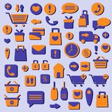 Web shopping icons set Stock Images