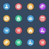 Web shopping  vector flat icons on the color substrate  set of 16. On dark blue background Royalty Free Stock Image