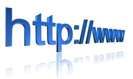 Web URL address. Web site address URL http://www in 3D blue text graphics Royalty Free Stock Images