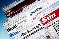 Web site BRITÁNICOS de las noticias del `s Foto de archivo libre de regalías
