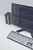 Web site codes on computer monitor on office desktop Stock Images
