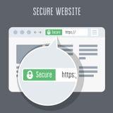 Web site com o certificado do SSL com a barra verde do endereço ilustração royalty free