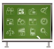 Web site, computador e ícones do negócio Foto de Stock Royalty Free