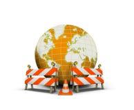 Web site in costruzione con il globo e la barriera illustrazione di stock