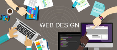 Web site criativo satisfeito do design web responsivo Fotos de Stock