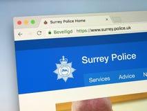 Web site da polícia de Surrey Fotos de Stock