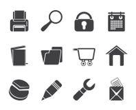 Web site da silhueta, Internet e ícones do computador Imagem de Stock