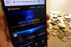 Web site da troca do cryptocurrency de Binance indicado no smartphone e na pilha de moedas foto de stock royalty free