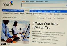 Web site de Msn Fotografia de Stock