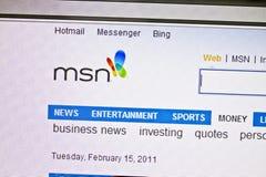 Web site de MSN imagens de stock