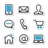 Iconos del movimiento del Web page del contacto fijados libre illustration