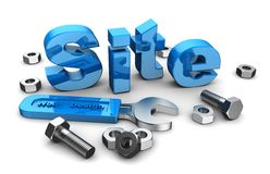 Web site design. Blue word site with work tools Royalty Free Stock Photography
