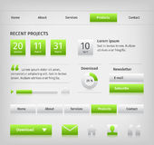Web site design elements with green buttons hover Royalty Free Stock Photos