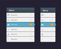 Web site design menu navigation elements with icons set. EPS 10 Royalty Free Stock Images