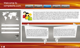Web site design template 42. Web site design template for company with wood background, white frame, arrows and world map Stock Images