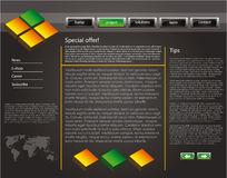 Web site design template 47. Web site design template for company with dark background, 3d cubes and world map Royalty Free Stock Photography