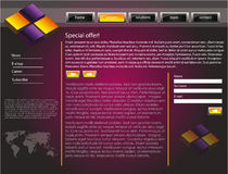 Web site design template 48. Web site design template for company with purple background, 3d design and world map Royalty Free Stock Photos