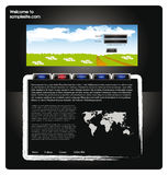 Web site design template 57. Vector web site for company webdesign with dark background, world map, glossy buttons and summer landscape Stock Photos