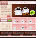 Web site design template, coffee house theme Royalty Free Stock Photos