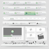 Web site design template navigation set with icon set Royalty Free Stock Photos