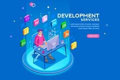 Web site do colaborador do programa do colaborador e de programação de software ilustração stock
