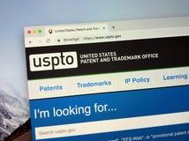Web site do escritório USPTO da patente e da marca registrada do Estados Unidos imagem de stock