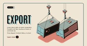 Web site do vetor da exportação dos bens dos países estrangeiros ilustração do vetor