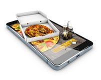 Web site em linha do alimento da ordem Serviço online da entrega da pizza do fast food ilustração 3D Foto de Stock