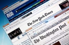 Web site en línea de las noticias Imagen de archivo