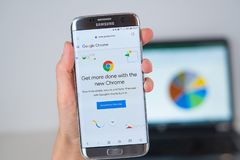 Web site of Google Chrome browser company on phone screen royalty free stock photography
