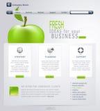 Web site Grigio-verde di vettore con la mela Fotografie Stock Libere da Diritti